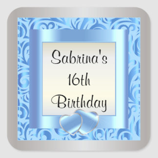 16th Birthday Party   DIY Text   Blue Square Sticker