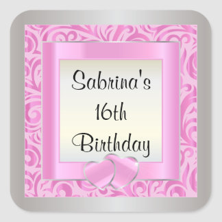 16th Birthday Party   DIY Text   Pink Square Sticker