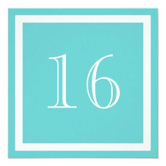 """16th Birthday Party Invitation - Aqua 5.25"""" Square Invitation Card"""