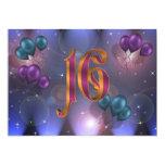 16th Birthday Party Invitation balloons