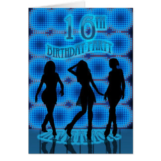 16th Birthday Party Invitation, Blue Neon With Dan Card