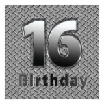 16th BIRTHDAY PARTY INVITATION - METAL Invite