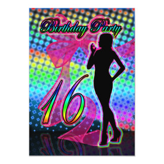 16th Birthday Party Invitation, Neon With Female S 5x7 Paper Invitation Card
