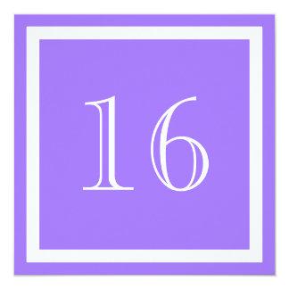 """16th Birthday Party Invitation - Purple Lilac 5.25"""" Square Invitation Card"""