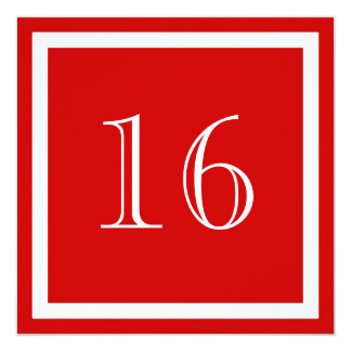 """16th Birthday Party Invitation - Red 5.25"""" Square Invitation Card"""