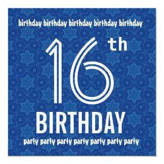 16th Birthday Party Modern Geometric Blue W1833 Card