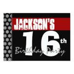 16th Birthday Party Modern Red Black and White Custom Invitation