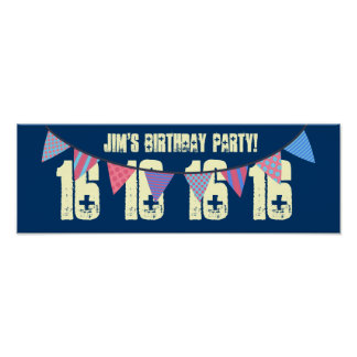 16th Birthday Party MULTI COLOR BANNERS F03 Poster