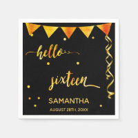 16th birthday party name hello sixteen gold black napkin