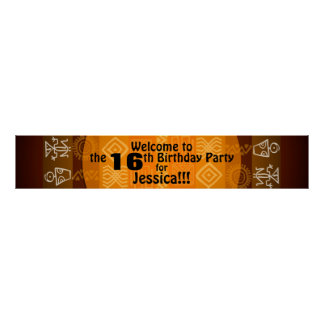 16th Birthday Party Personalized Banner 60x11 Poster