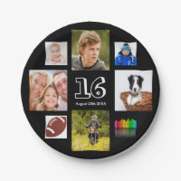 16th birthday party photo collage boy black paper plate