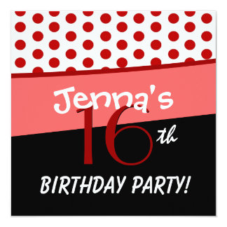 16th Birthday Party Red and White Polka Dots Card