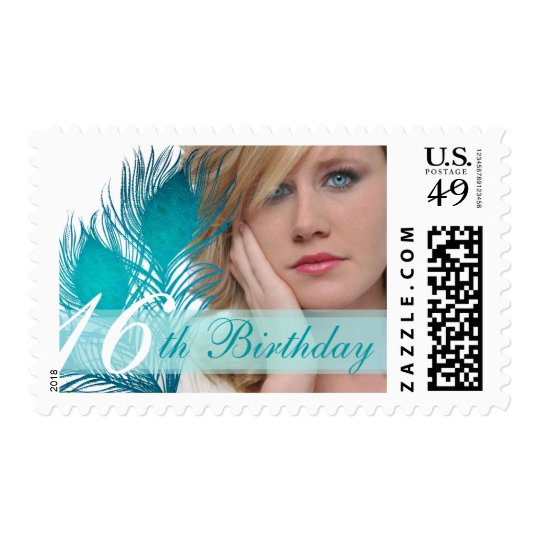 16th Birthday Peacock feathers photo stamps