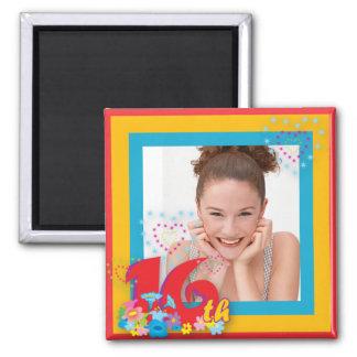 16th Birthday Photo Frame Magnet