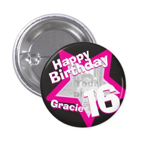 16th Birthday photo fun hot pink button/badge