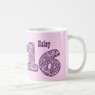 16th Birthday PINK PURPLE Lace Numbers V28 Coffee Mug