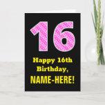 "[ Thumbnail: 16th Birthday: Pink Stripes and Hearts ""16"" + Name Card ]"