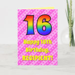 [ Thumbnail: 16th Birthday: Pink Stripes & Hearts, Rainbow # 16 Card ]