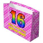 [ Thumbnail: 16th Birthday: Pink Stripes & Hearts, Rainbow # 16 Gift Bag ]