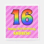 [ Thumbnail: 16th Birthday: Pink Stripes & Hearts, Rainbow # 16 Napkins ]