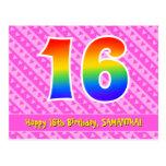 [ Thumbnail: 16th Birthday: Pink Stripes & Hearts, Rainbow 16 Postcard ]