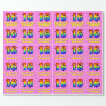[ Thumbnail: 16th Birthday: Pink Stripes & Hearts, Rainbow # 16 Wrapping Paper ]