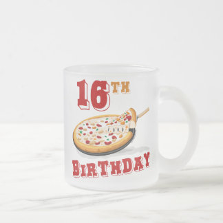 16th Birthday Pizza Party Frosted Glass Coffee Mug