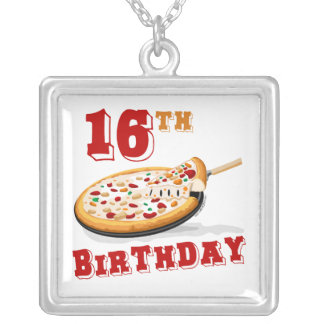 16th Birthday Pizza Party Square Pendant Necklace