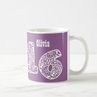 16th Birthday PURPLE and WHITE Lace Numbers V09 Coffee Mug