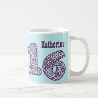 16th Birthday PURPLE AQUA Lace Numbers V29 Coffee Mug