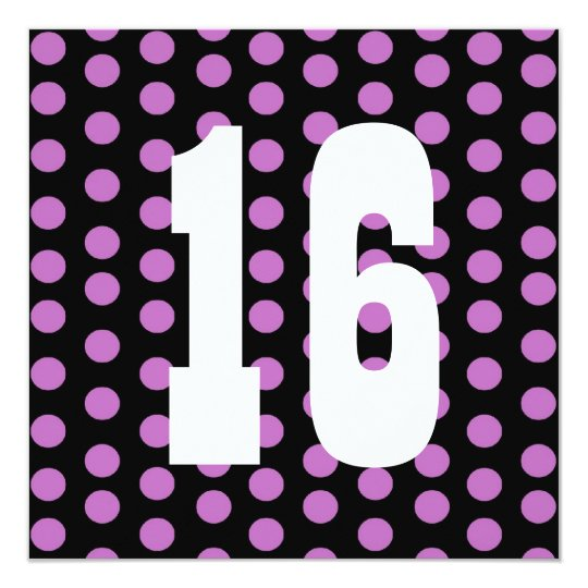 16th Birthday Purple Polka Dots B200 Card