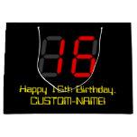 "[ Thumbnail: 16th Birthday: Red Digital Clock Style ""16"" + Name Gift Bag ]"