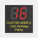 "[ Thumbnail: 16th Birthday: Red Digital Clock Style ""16"" + Name Napkins ]"