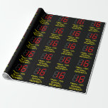 """[ Thumbnail: 16th Birthday: Red Digital Clock Style """"16"""" + Name Wrapping Paper ]"""