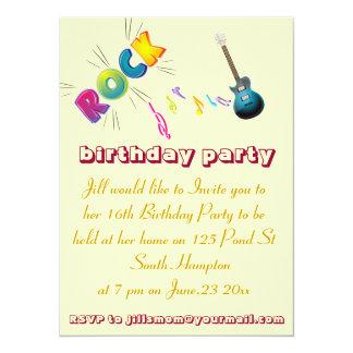 16th Birthday  rock invitation card.