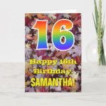 "[ Thumbnail: 16th Birthday; Rustic Autumn Leaves; Rainbow ""16"" Card ]"