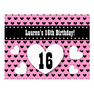 16th Birthday Save Date Birthday A12 Pink Hearts Postcard