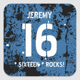 16th Birthday Sixteen Rocks BLUE Grunge F16Z Square Sticker