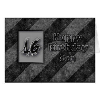 16TH BIRTHDAY - SON - GRUNGE GREETING CARDS