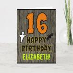 [ Thumbnail: 16th Birthday: Spooky Halloween Theme, Custom Name Card ]