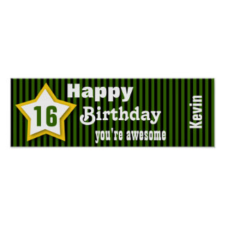 16th Birthday Star Banner Striped S03A GREEN Poster