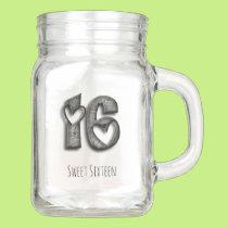 16th Birthday Sweet 16 Rustic Hearts Typography Mason Jar