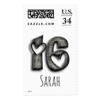 16th Birthday Sweet 16 Rustic Hearts Typography Postage
