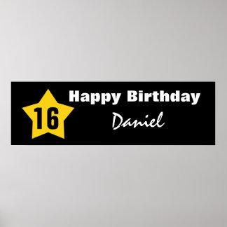 16th Birthday Teen Star Banner Custom Name V01B Print
