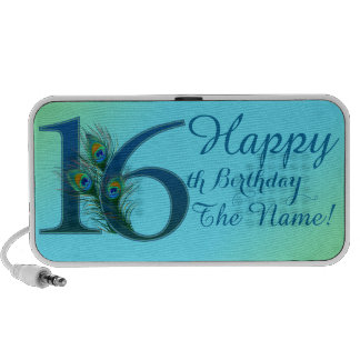 16th Birthday Template 100% personalized gift Travel Speakers