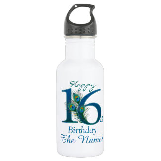 16th Birthday Template 100% personalized Water Bottle