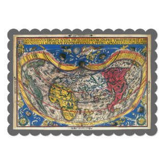 16th Century Antique World Map, Peter Apian 5x7 Paper Invitation Card