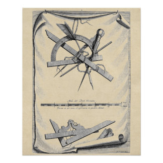 16th Century Drafting Tools Poster