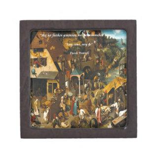16th Century Dutch Art & Famous Proverb Jewelry Box