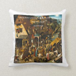 16th Century Dutch Art & Proverb Throw Pillow
